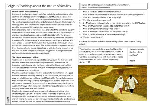 AQA GCSE Religious Studies Nature of Families in Islam Worksheet