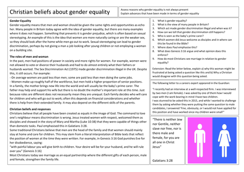 AQA GCSE Religious Studies Gender Equality in Christianty