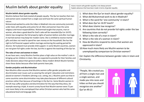AQA GCSE Religious Studies Beliefs about Gender Equality in Islam
