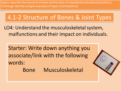 LO4.1-2 Structure of Bone and Types of Joint Cambridge Technicals H&SC Level 3 Unit 4
