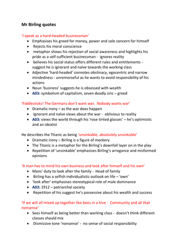 An Inspector Calls Mrs Birling Quotes By Arwaxx Teaching Resources