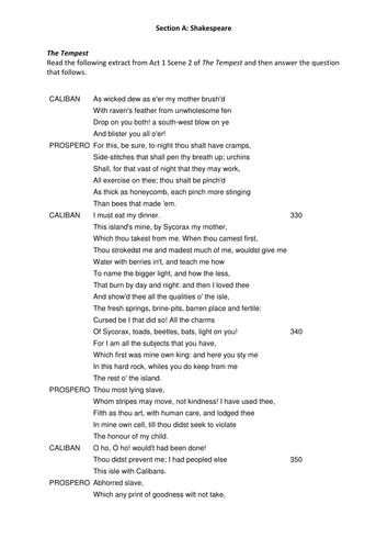 AQA English Literature 2015 The Tempest Practice Exam Materials