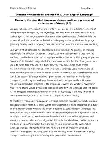 Resources From Astarlevels  Teaching Resources  Tes Language Change  The History Of English Revision A Example Student Essay   Aqa A