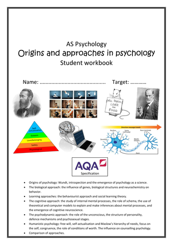 Approaches (year 1&2) Student workbook - AQA 2015 specification