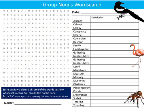 Animals Group Collective Nouns Wordsearch Starter Settler Activity Homework Cover Lesson