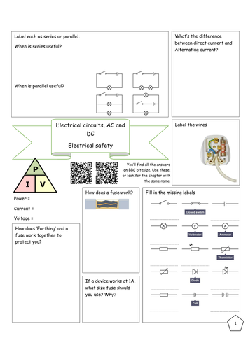 Bitesize Electricity revision - Electrical circuits AC and DC, Electrical safety