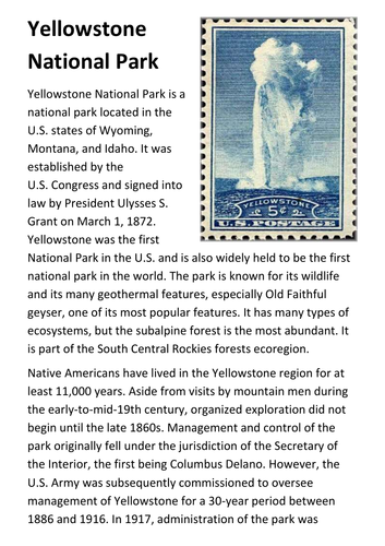 Yellowstone national park handout by sfy773 teaching resources tes publicscrutiny Image collections