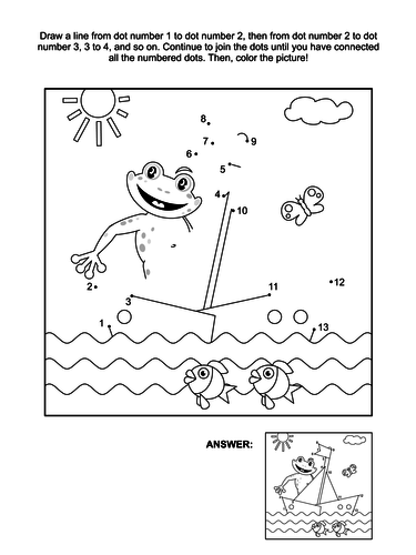 Dot-to-Dot and Coloring Page – Frog and Boat