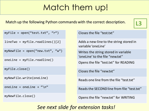 GCSE - Python File Handling (OCR NEA preparation)