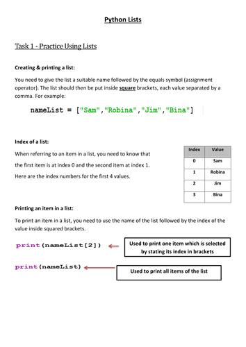 Y9 & GCSE - Python Lists