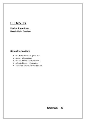 Redox reactions MCQ /oxidation numbers,calculations and equations