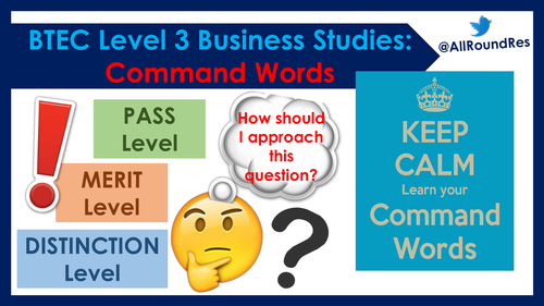 BTEC Business Studies: Exam Command Words Display Pack!