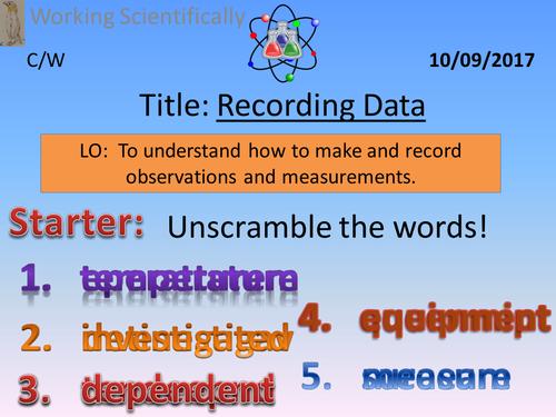 Activate 1:  Working Scientifically  1.3  Recording Data