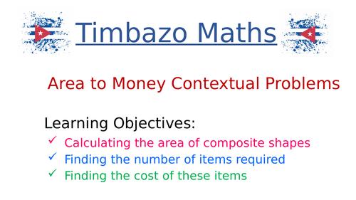 Area to Money Contextual Problems