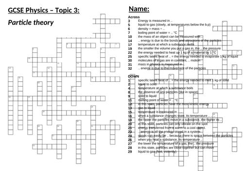 AQA 9-1 GCSE Science/Physics - Particle model - Crossword