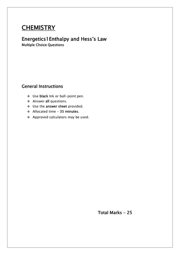 Enthalpy , Hess's Law MCQ