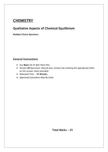 Chemical Equlibria , Qualitative aspects /MCQ