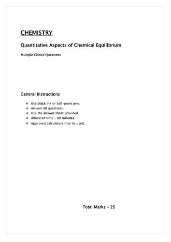 Chemical Equlibria Quantitative aspects