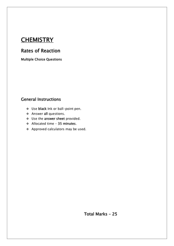 Reaction rates, collision theory