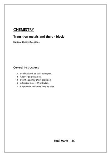 Transition metal /d block elements