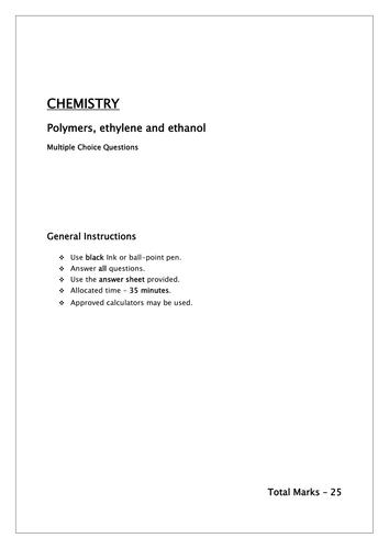 Organic Chemistry MCQ/polymers, ethelene and ethanol