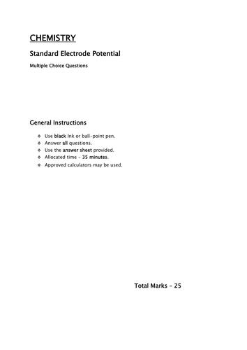 Standard Electrode potential MCQ
