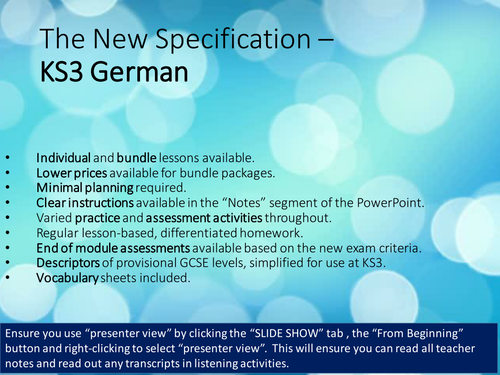 KS3 German - Revision of basics