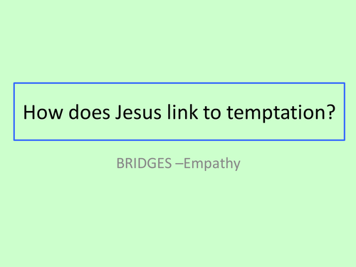 GCSE RS/RE lesson for Christianity  - Jesus and temptation - fully resourced