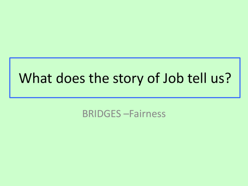 GCSE RS/RE lesson for Christianity  - The story of Job - fully resourced