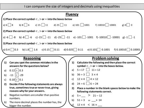 Comparing The Size Of Integers And Decimals Mastery Worksheet By