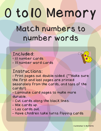 0 to 10 Number and Number Name Memory