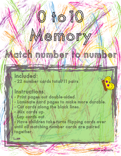 0 to 10 Number Memory