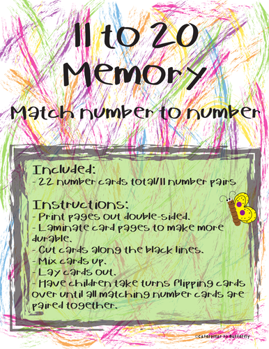 11 to 20 Number Memory