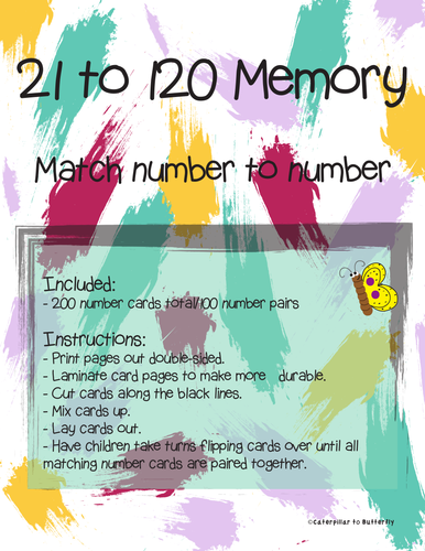 21 to 120 Number Memory