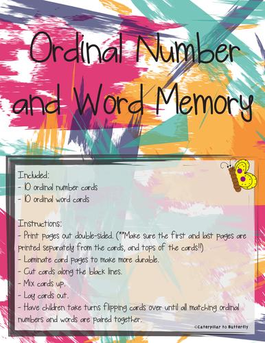 Ordinal Number (1st-10th) and Name Memory
