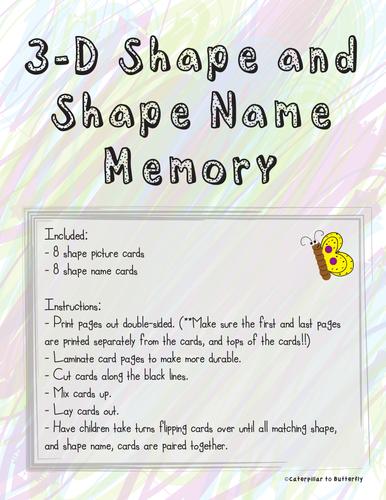 3D Shape and Shape Name Memory