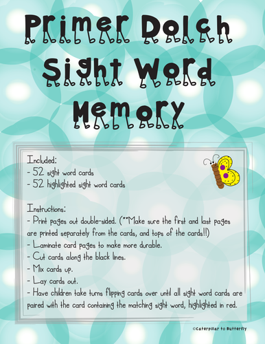 Primer Sight Word Memory: Highlighted Word Version