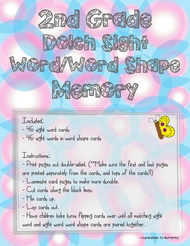 2nd Grade Sight Word Memory: Word Shape Version