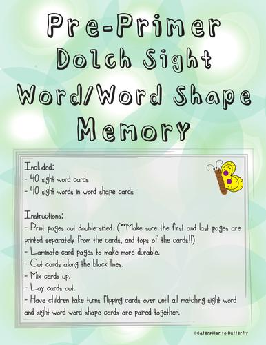Pre-Primer Sight Word Memory: Word Shape Version