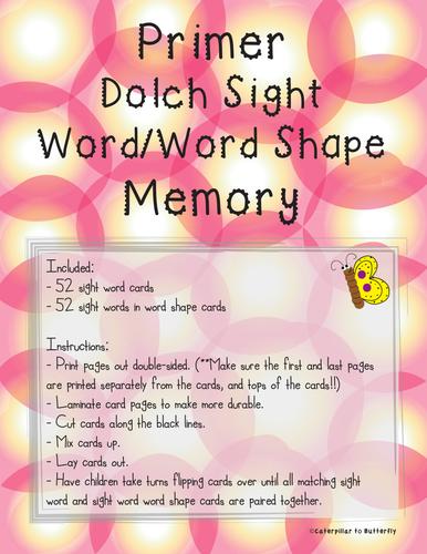 Primer Sight Word Memory: Word Shape Version