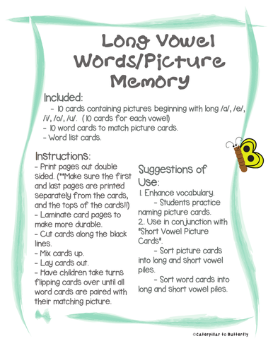 Long Vowel Words and Picture Memory