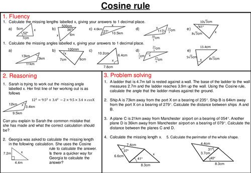 sine and cosine rule mastery worksheets by joybooth teaching resources tes. Black Bedroom Furniture Sets. Home Design Ideas
