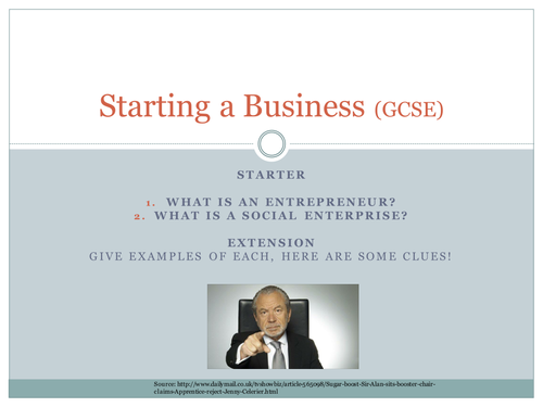 GCSE Business AQA Starting a business (Lesson 1)
