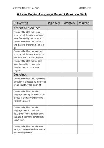 A Level English Language Practice Questions Example Essay Questions  A Level English Language Practice Questions Example Essay Questions  Aqa  New Spec By Astarlevels  Teaching Resources  Tes