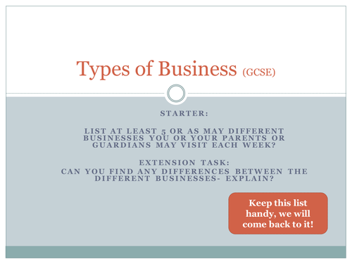 GCSE Business AQA Types of Business (Lesson 2)