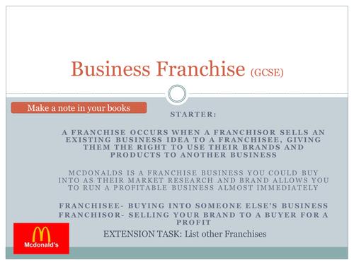 GCSE Business AQA Franchise (Lesson 3)