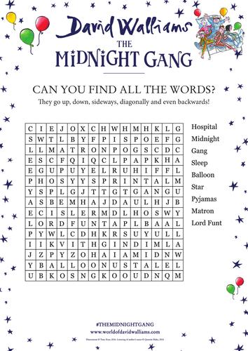 David Walliams' The Midnight Gang - Word Search