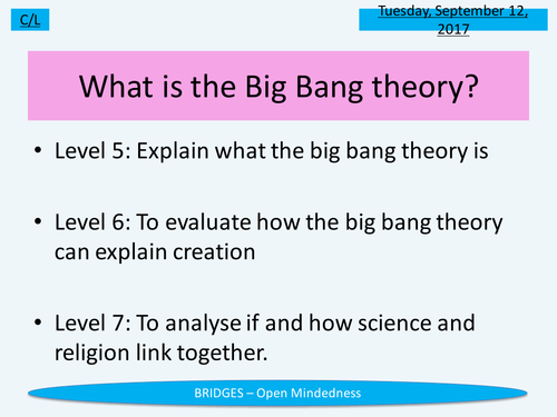 KS3 RE/RS lesson - Big Bang theory - fully resourced