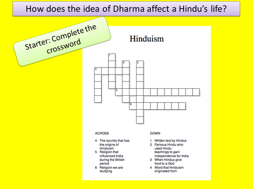 KS3 RE/RS lesson on Hinduism - Dharma - fully resourced