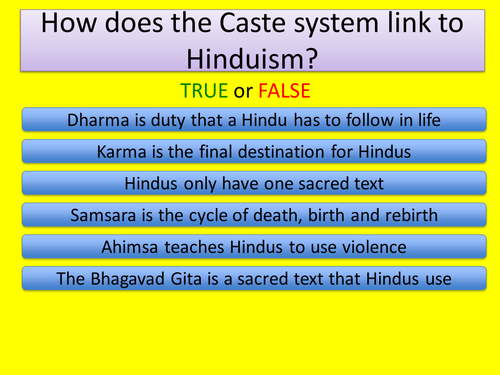 KS3 RE/RS lesson on Hinduism - Caste - fully resourced